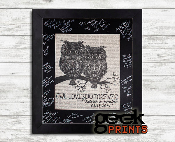 OWL Always Love You Vintage Book Art Print Free Personalization