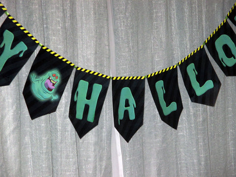 HappyHalloween Banner with Ghostbusters Theme Printable Download