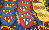 Super Hero Monogrammed Party Circles Cupcake toppers
