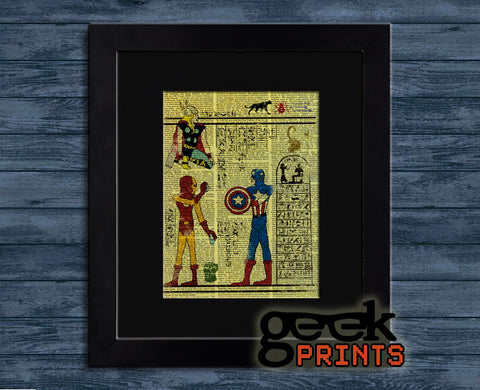 Egyptian Superheroes Vintage Book Art Print