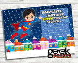 Letter to Santa Stationary with Superman Super Boy Card
