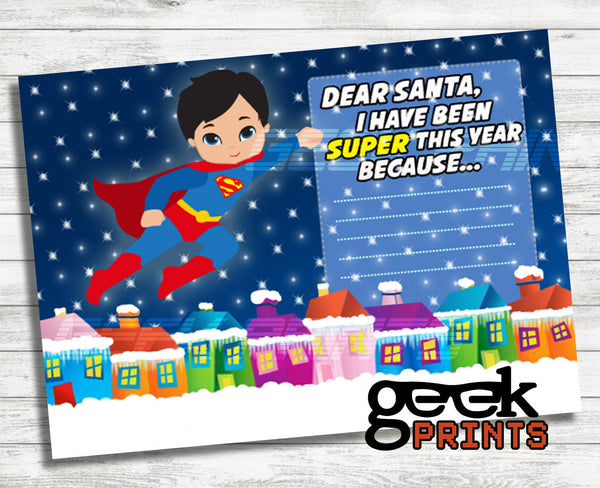 Letter to Santa Stationary with Superman Super Boy Printable