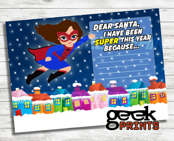 Letter to Santa Stationary with Spider Girl Printable