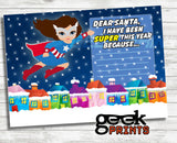 Letter to Santa Stationary with Captain America Super Girl Printable