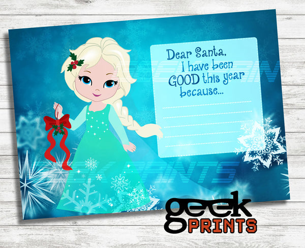 Letter to Santa Stationary with Elsa Printable