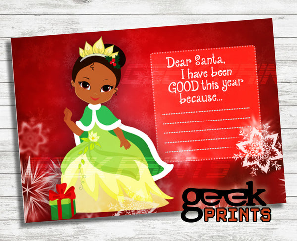 Letter to Santa Stationary with Tiana Printable