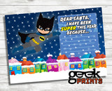Letter to Santa Stationary with Batman Super Boy Printable