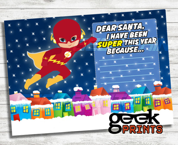 Letter to Santa Stationary with Flash Super Boy Card