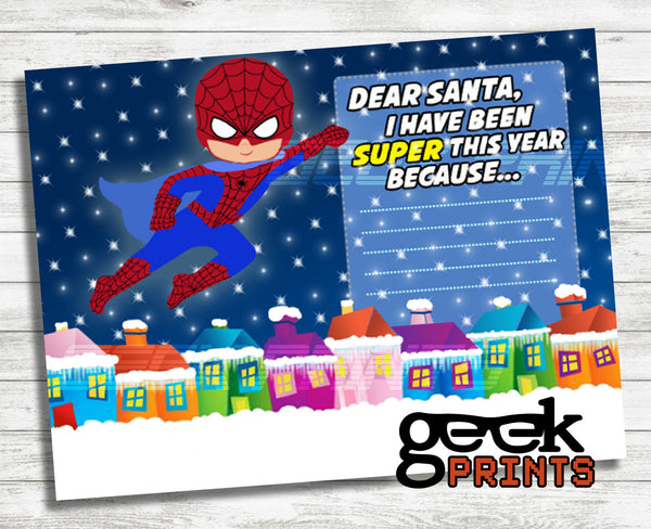 Letter to Santa Stationary with Spiderman Super Boy Printable