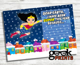 Letter to Santa Stationary with Wonder Woman Printable