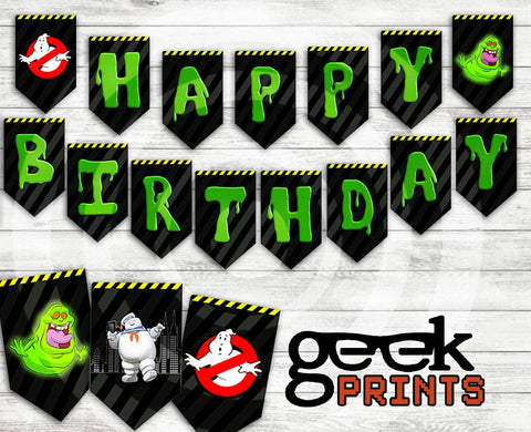 Happy Birthday Banner with Ghostbusters Theme Printable Download