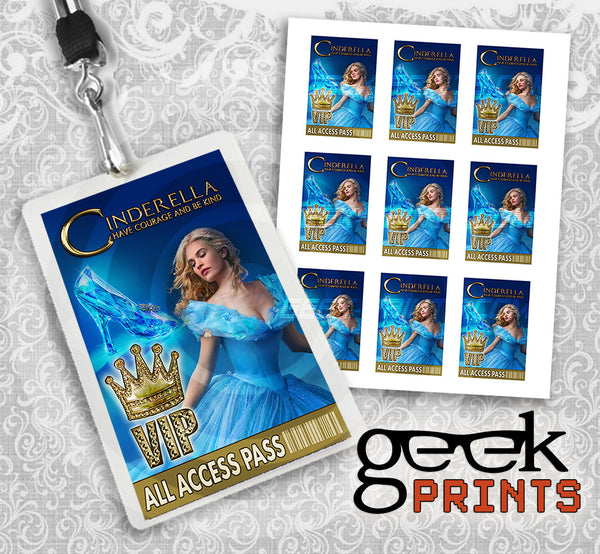Cinderella 2015 Movie Birthday Party Lanyard Instant Download