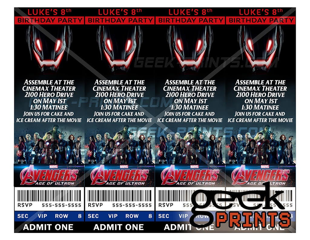 Avengers Age of Ultron Movie Birthday Party Invitation Custom