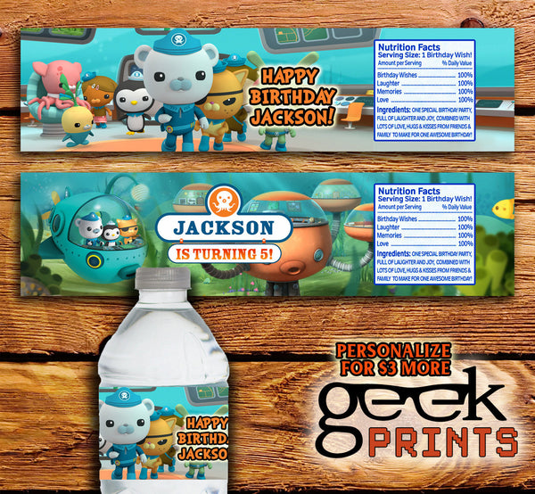 Water Bottle Wrappers Inspired by Octonauts and Aquaman Custom Printable