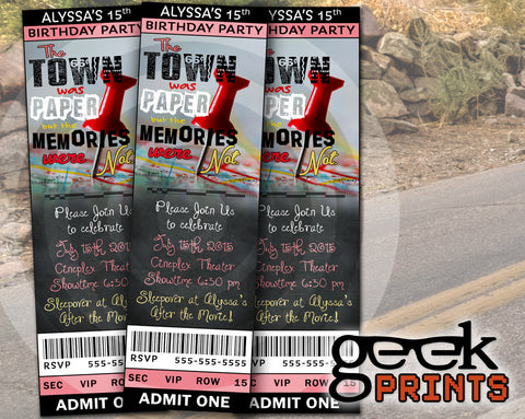 Paper Towns Movie Birthday Party Invitation Custom