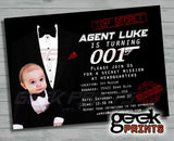 Secret Agent James Bond 007 Movie Theme Birthday Photo Invitation Custom Printable