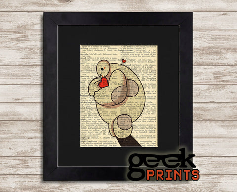 Love Baymax Vintage Book Art Print