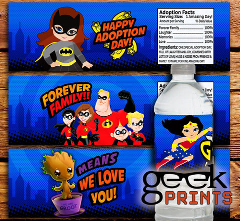 Adopted Super Hero Water Bottle Labels Printable