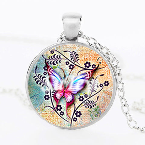 Butterfly Glass Pendant Necklace 1