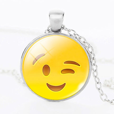 Emoji Cute Wink  Pendant Necklace