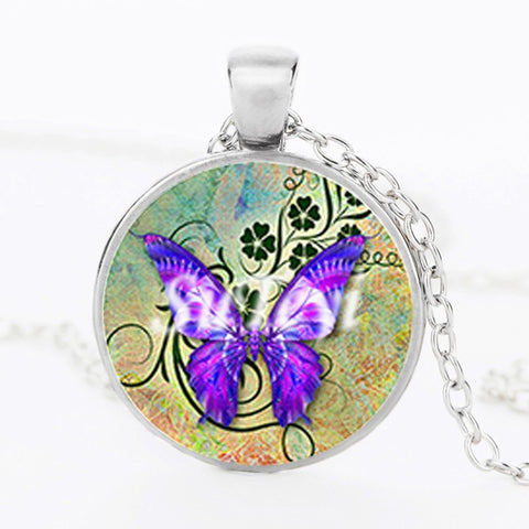 Butterfly Glass Pendant Necklace 2