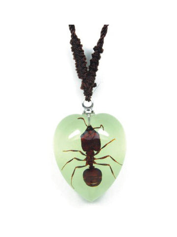Real Ant Necklace - Heart Shaped - Glow-In-The-Dark