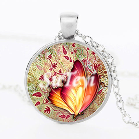 Butterfly Glass Pendant Necklace 3