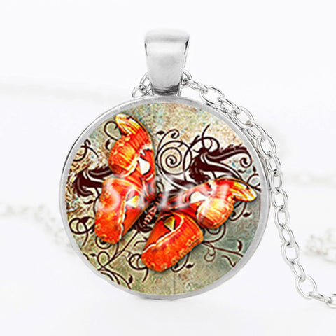 Butterfly Glass Pendant Necklace 4