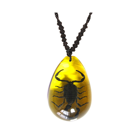 Real Black Emperor Scorpion Teardrop Shaped Necklace, Amber Color