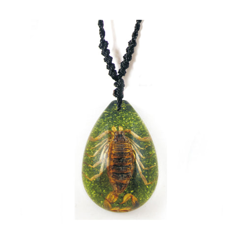Real Bark Scorpion Teardrop Shaped Necklace, Green