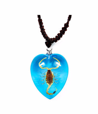 Real Bark Scorpion Heart Shaped Necklace, Lite Blue