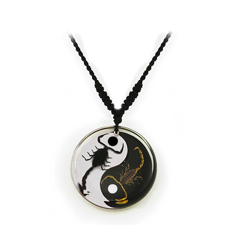 Real Black Emperor and Bark Scorpion Necklace, Black and White Yin-Yang Style 2