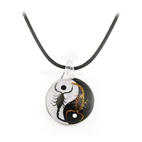 Real Black Emperor and Bark Scorpion Necklace, Black and White Yin-Yang Style 4 Larger