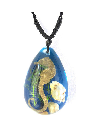 Real Seahorse Necklace, Blue