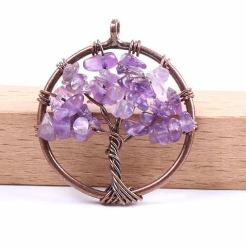 Amethyst Tree of Life Necklace In Gift Box - Copper