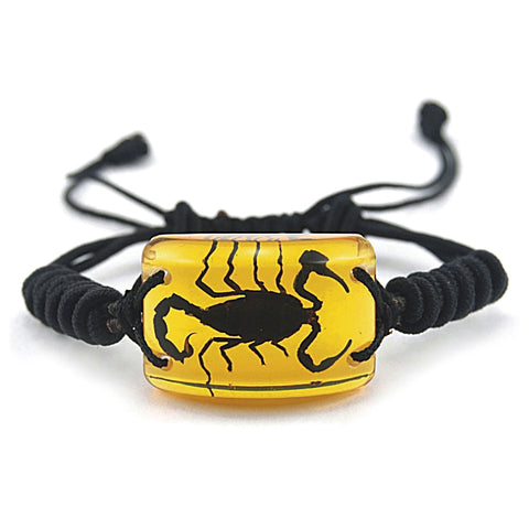 Real Black Emperor Scorpion Bracelet (Amber Color Lucite)