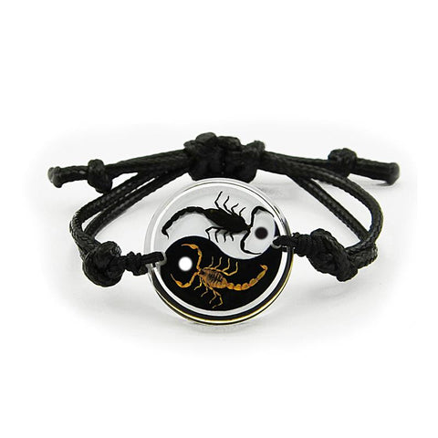 Real Black Emperor and Bark Scorpion Bracelet, Black and White Yin-Yang Style 2