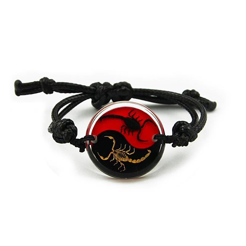 Real Black Emperor and Bark Scorpion Bracelet, Red and Black Yin-Yang Style 1