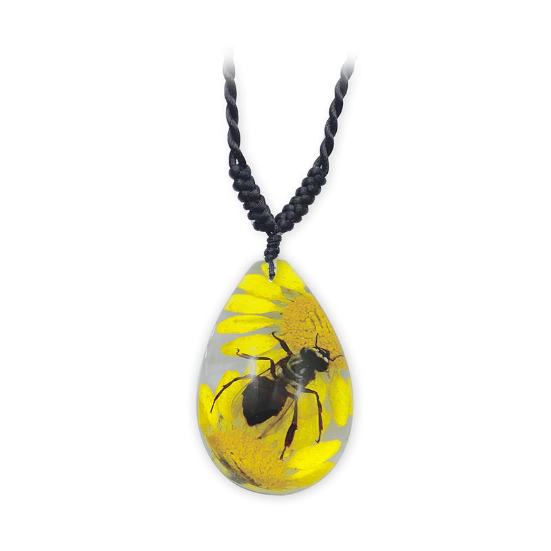 Bee, Honeybee Necklace, Real Honeybee In Tear Drop Shape Necklace