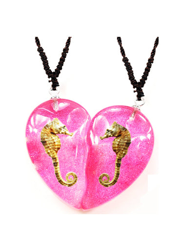 Real Seahorse Friendship Necklace, Pink