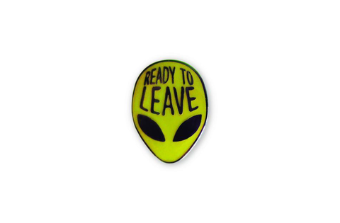 GLOW IN THE DARK ALIEN ENAMEL PIN