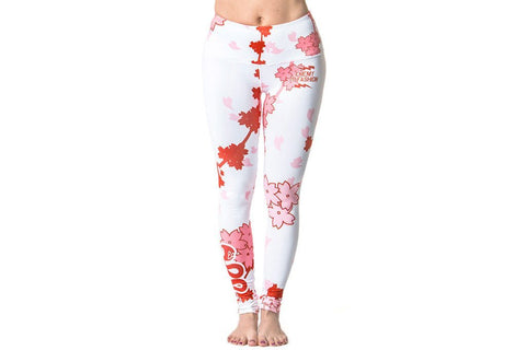 Bottoms - Cherry Blossom Pop Yoga Pant - WHITE