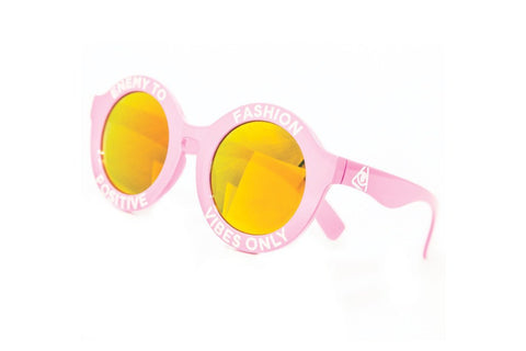 Sunglasses - Enemy To Fashion Pink Positive Vibes Only Glasses