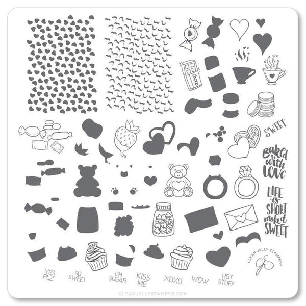 Steel Stamping Plate (CJSV-23) - Sweets and Treats   (8 x 8 cm)