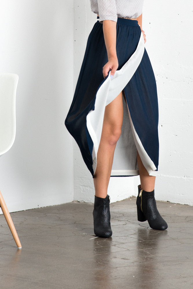 Lily Wrap Skirt - Navy/Ivory