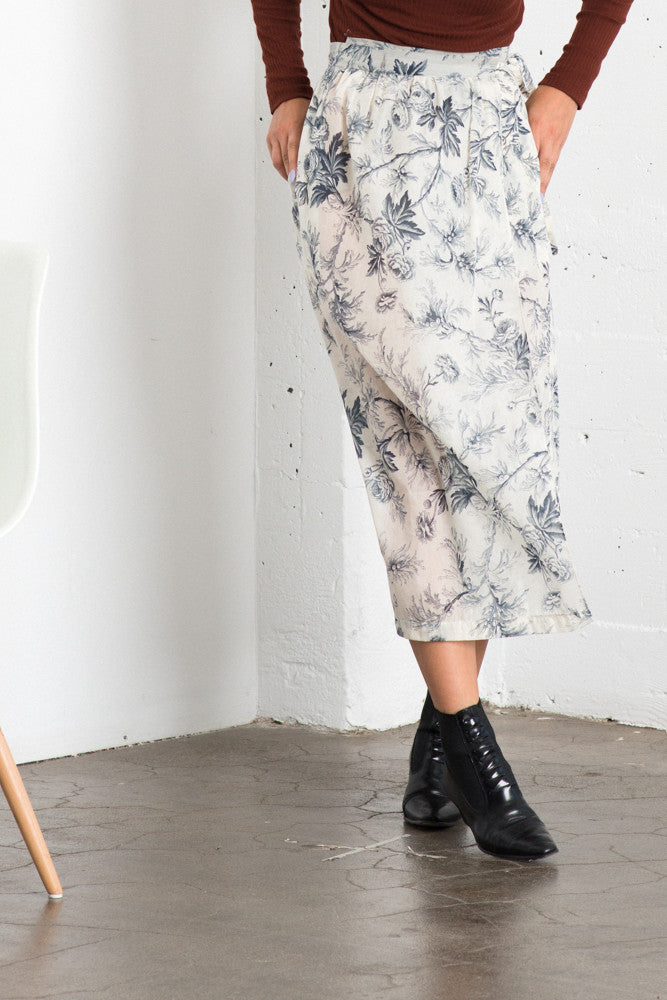 Lily Wrap Skirt - Floral Sketch