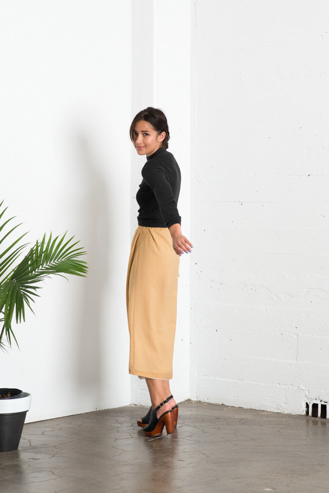 Lily Wrap Skirt - Mustard/Ivory