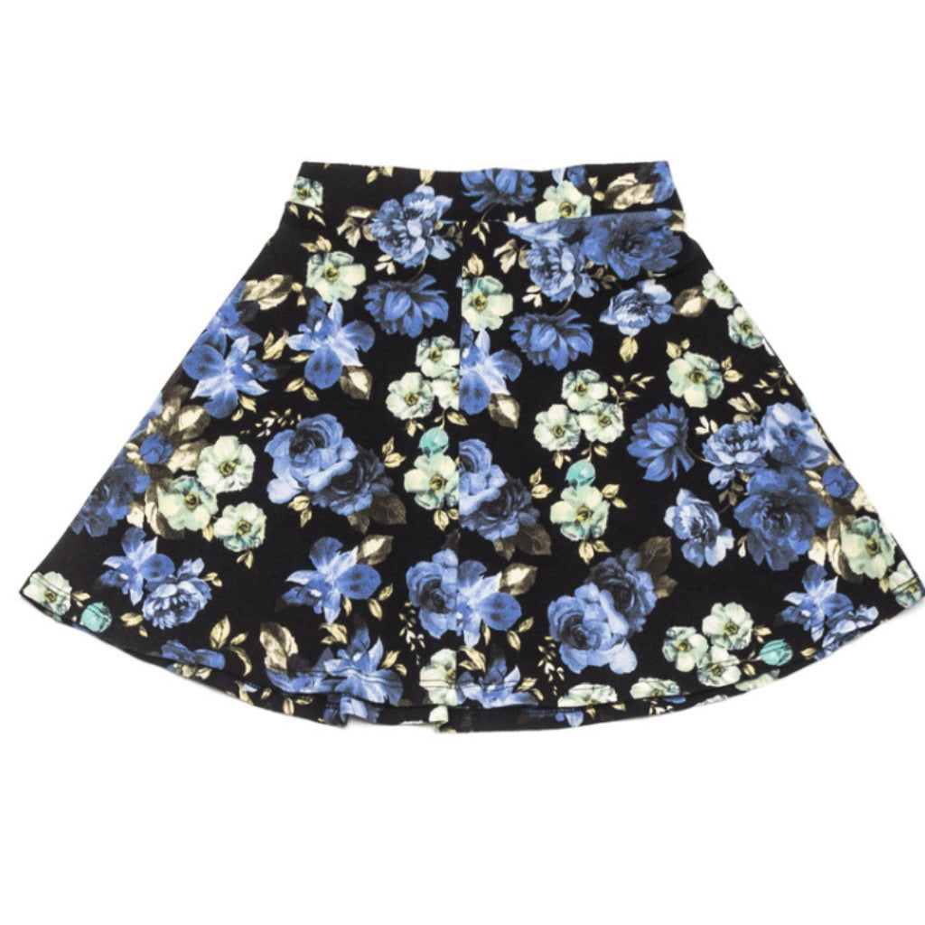 Ode to Jeune Tessa Circle Skirt Midnight Blossom Blue Floral