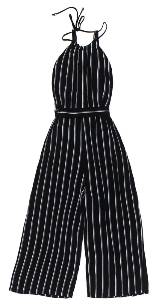Ode to Jeune Juliette Women's Jumper Jumpsuit Black White Stripes Belted One-Piece