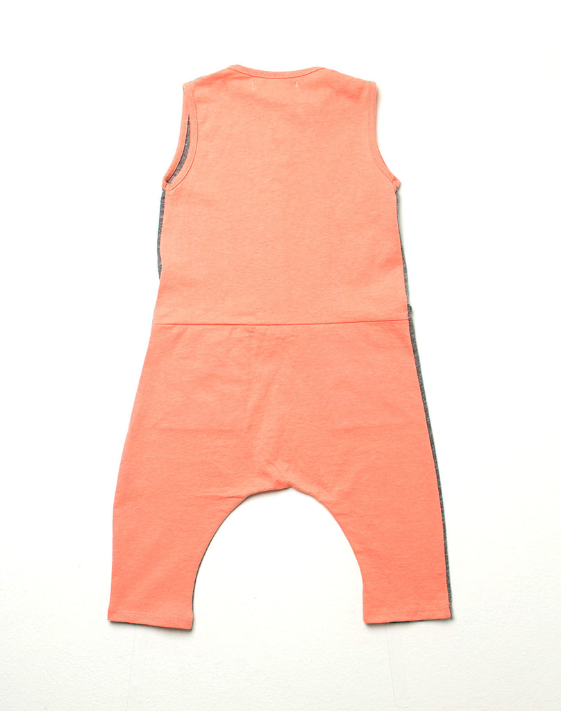 Lucca Romper - Gray with Coral Contrast